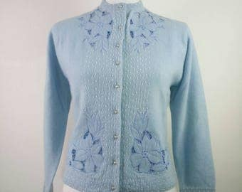 Vintage 50s beaded baby blue Cardigan lambswool angora