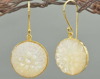 Hook EARRINGS Mother-of-Pearl & 24K Gold Vermeil over 925 Sterling Silver 6.76 g