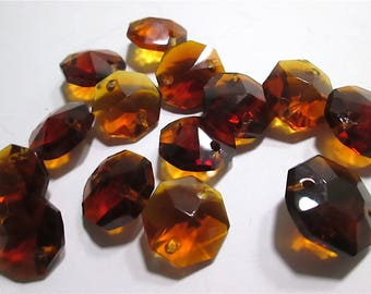 14 Vintage Amber Chandelier Crystals - Used