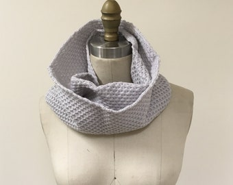 Gray Waffle Pattern Knitted Infinity Scarf