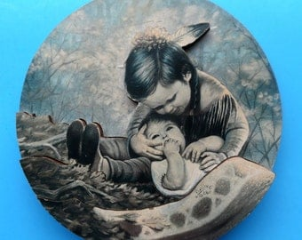 """GREGORY PERILLO 3-D ART """"Baby Sitter"""" 1988 Signed Arrow Personalized Wood Products Iowa Dimensional Vintage Wall Hanging Native Child Baby"""