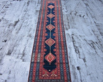 Antique Northwest Persian Runner , Oriental Rug , Early 20th Century , 13.9 x 3.1