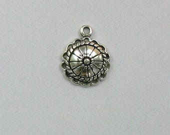 925 Sterling Silver Concho Charm, Western & Native American Theme Jewelry - west118