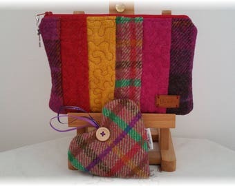 Harris Tweed Zipped Cosmetics Bag with Lavender Filled Heart