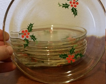 Vintage Christmas Holly Print Snack Plates