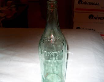 Antique Vintage Aqua Glass Bottle, Pureoxia Boston, Original, WAS 25.00 - 50% = 12.50
