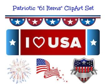 Patriotic Digital Download Big Clip Art Set Patriotic Images Independence Day July 4th Transparent Background Red White Blue U.S.A. Clipart