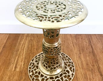 Pierced Brass Side Table or Plant Stand, Chinoiserie Mid Century Style, Ornate, Vintage Accent Table,