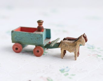 Horses and Cart Miniature Antique Wooden Toy - Made in German Democratic Republic