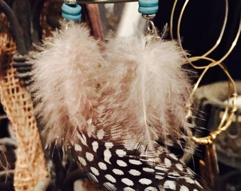 Feather black n white earrings with turquoise beads