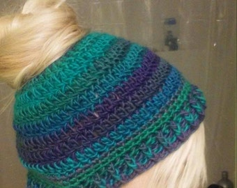 Crochet Handmade Bun/Ponytail Hat Sizes Toddler to Adult Lots of Colors to Choose