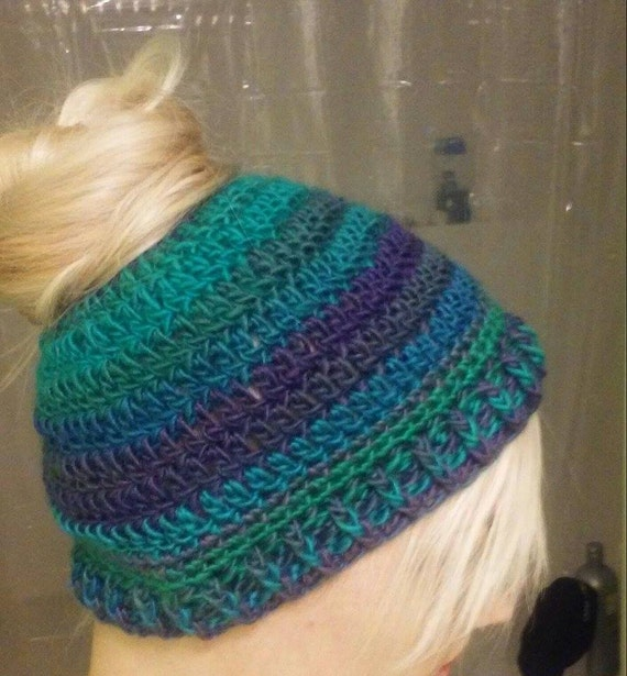Crochet Bun Hat : Crochet Handmade Bun/Ponytail Hat Sizes Toddler to Adult Lots of ...