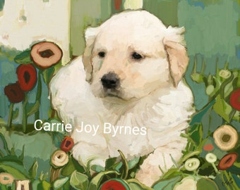"""Gallery Wrapped Stretched Canvas Print 14"""" x 11"""" - Golden Day - Folk art golden retriever puppy dog portrait with flowers. SALE"""