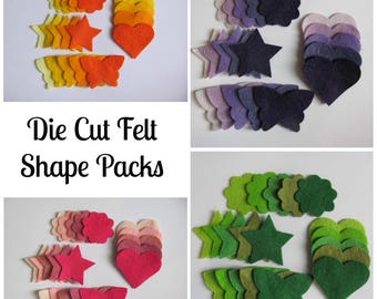Die Cut Felt Shapes, Pack of 20, Crafts, Scrapbooking, Collage, Sewing, Applique, Cards