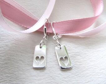 D. Kirkup Designs Sterling Silver Open Heart Lever Back Earrings