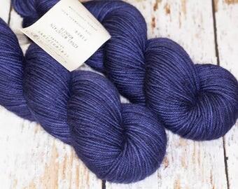 Hand Dyed DK Superwash Merino Wool Yarn in Navy Monochrome