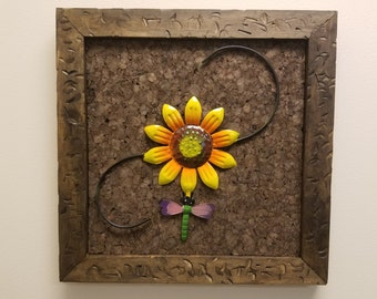 """Sunflower & Dragonfly Cork Board - with handcrafted weathered pine frame 15"""" x 15"""""""