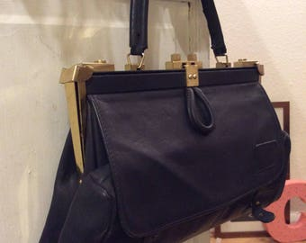 Authentic vintage navy leather foldaway hand bag