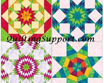 10 Inch Star Foundation Set 1 Paper Piece Quilting 4 Block Patterns PDF