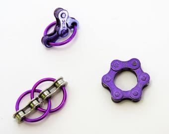 Bike Chain Fidget Toy Set of 3, 5 color choices or custom option, with gift box. Fidget in color!