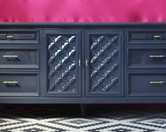 Gorgeous Dresser with Woven Details Lacquered in Hale Navy
