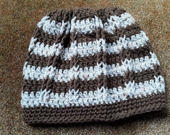 Sweet Stripe Messy Bun Hat / Ponytail Hat / Slouchy