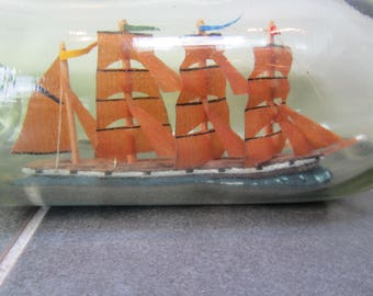 Antique Ship in Bottle Four Masted Clipper or Barque