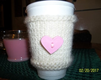 Valentine's Day Hand Knitted Coffee Cup Cozy