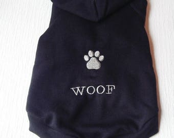 ON SALE Dog Hoodie, Black Hoodie For Small Dog, Size Medium