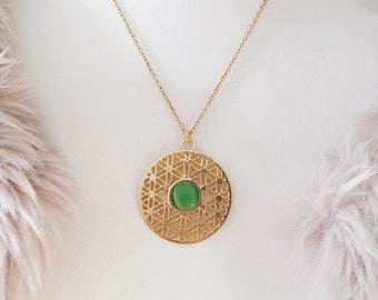 70s Gold Medalion Necklace | Green Catseye Boho Jewelry | Gypsy Jewelry | Gift