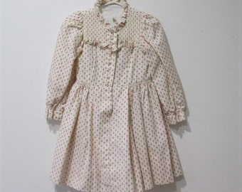 Vtg girls prairie style  dress with red hearts size 3