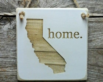 California Home Hanger - Reclaimed Wood Ornament - California Decor - California Ornament (small keepsake 4 inches by 4 inches in size)