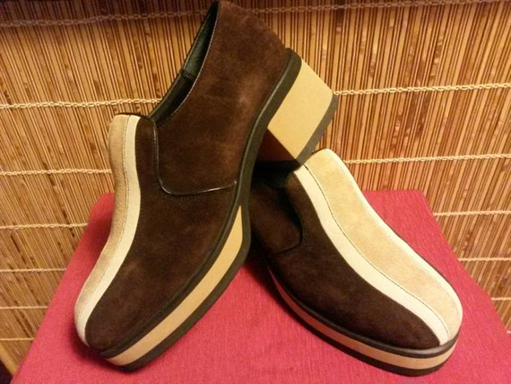 a4f30a095c5 ... Shoes Blue Suede Hush Puppies: Hush Puppies Brown With Tan Stripe Suede Platform  Loafers