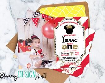 Prince Mickey Birthday Party Invitation