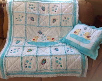 Bathtime Ducky Scrappy Quilt and Pillow