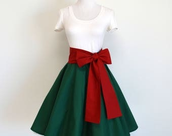 Peter Pan Green and Red Inspired Circle/Swing Skirt and Sash