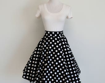 Black and White Polka Dot Homemade Circle/Swing Skirt (No Sash)
