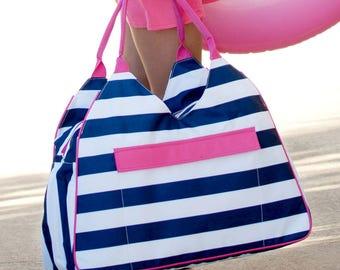Striped Beach Bag - Striped Diaper Bag - Striped Bag - Trendy Bag - Monogrammed Bag - Beach Bag - Bag - Bag for the beach - Summer Bag -