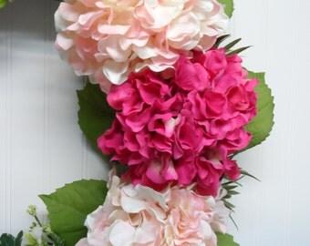 Grapevine Wreath, Hydrangea Grapevine Wreath, Year Round Hydrangea Wreath, Front Door Wreath, Peach and Green, Elegant Grapevine Wreath