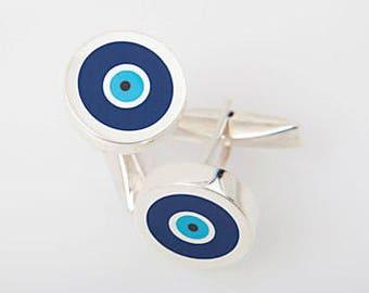 Greek Evil Eye Cufflinks with 975 Silver, Turquoise and Dark Blue Enamel