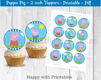 Peppa Pig cupcake toppers - Blue - Peppa Pig cake toppers - Peppa Pig 2 inch Toppers - Peppa Pig - Peppa Pig party - Peppa printable