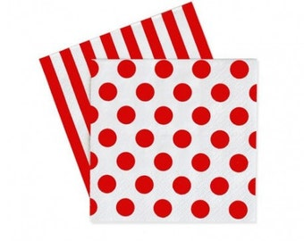 Dots & Stripes Napkins Red Spot 20PC