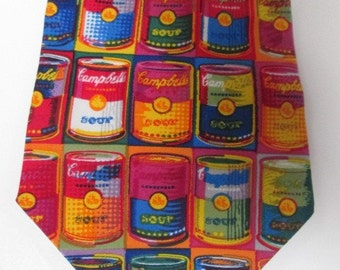 CAMPBELL SOUP Tins 1996 ACME Studios Pop Art Silk Necktie  for the Campbell Soup Company, think of Warhol