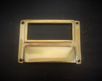 Label Bin Pull For Drawers Unlacquered Brass