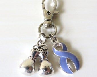 Periwinkle Awareness Zipper Pull Key Chain YOU Select Charms Esophageal Cancer Stomach Cancer Eating Disorders Hypertension