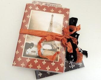 Vintage French Notebook, French Travel Notebook, Paris Notebook, Paris Postcard, French Ephemera