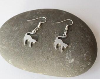 Cat earrings/ Silver tone Cute Cat earrings, Silver Animal studs