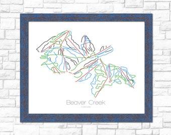 Beaver Creek Map Colorado CO Ski Snowboard Trail Art --- Print, Poster, Picture --- Frame, Gift, Present --- Resort, Mountain, Snow, Winter