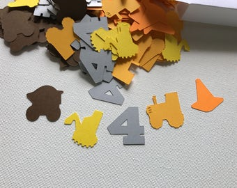 Construction themed table confetti approximately 250 pieces, Under construction themed birthday party, Under construction themed decorations
