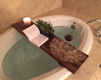Bath Caddy | Mandala| CUSTOMIZE BATH Caddy | Bath Tub Tray | Tub Caddy | Bath Tray